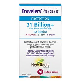 New Roots Traveler s Probiotic 21b 12strains 30vcaps