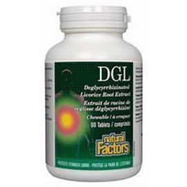 Natural Factors DGL Chewable Tablets 400 mg 10:1 Extract Deglycyrrhizinated Licorice Root Extract 180/TAB