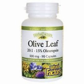 Natural Factors Olive Leaf 500 mg 15% Oleuropein 90/CAP