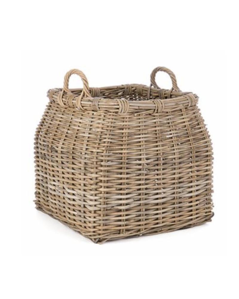 Square Rattan Storage Basket w/ Handles, Kooboo Grey