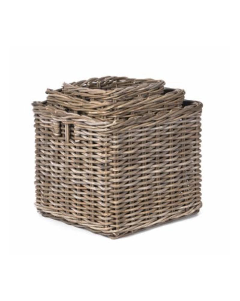 Square Rattan Storage Basket, Kooboo Grey (Small)