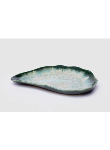 Medium Oyster Plate: Mint and Charcoal
