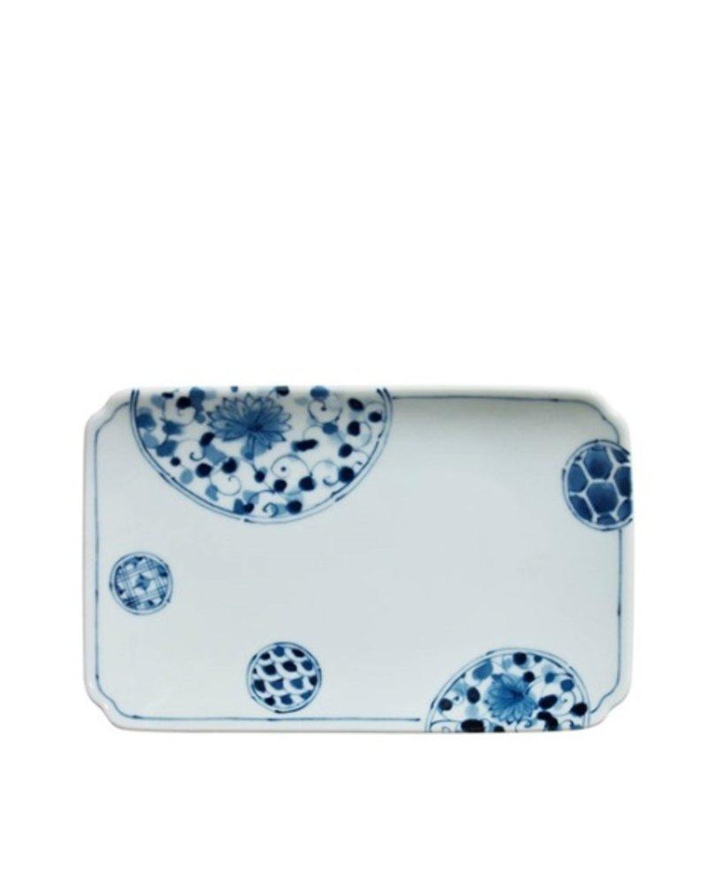 """miya BLUE & WHITE 8.5"""" x 5.25"""" PLATE - HANAIMARI"""