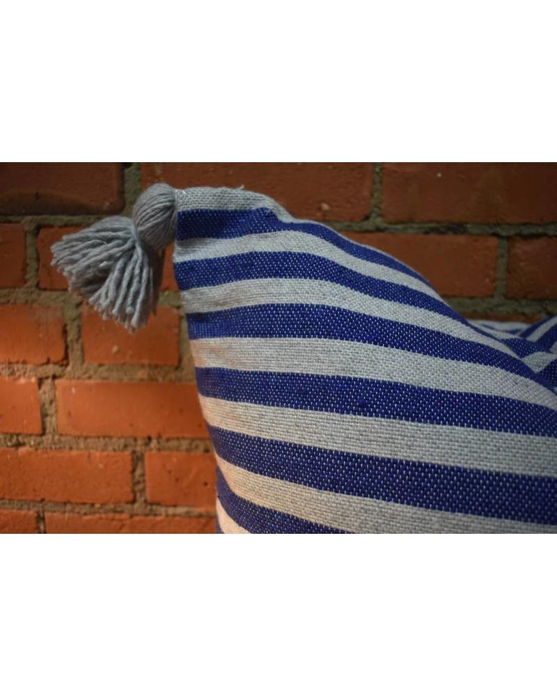 Moroccan Pillow-Euro (26 x 26) - Blue & Gray Stripe