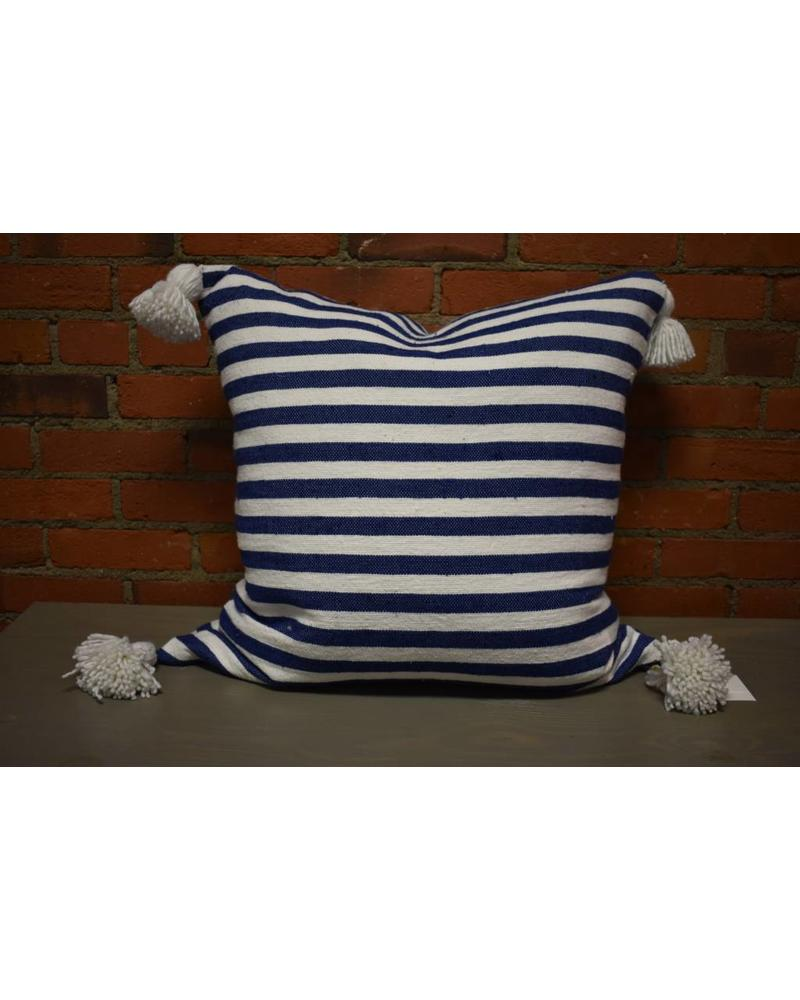 "Moroccan Pillow-Euro (26"" x 26"") - Blue & White Stripe"