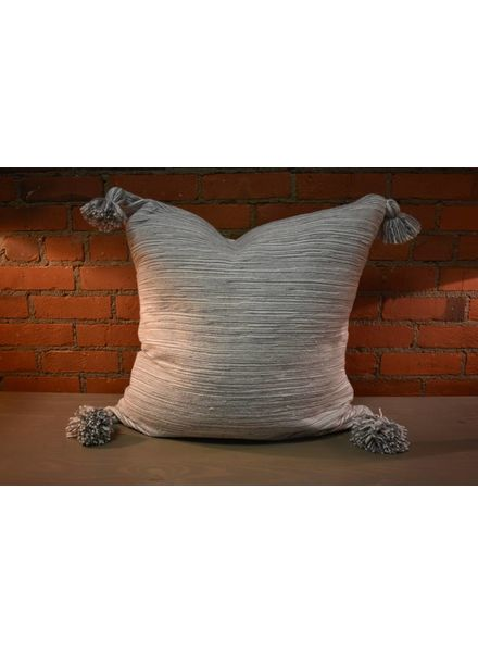 Moroccan Pillow-Euro (26 x 26) - Gray Candy Stripe