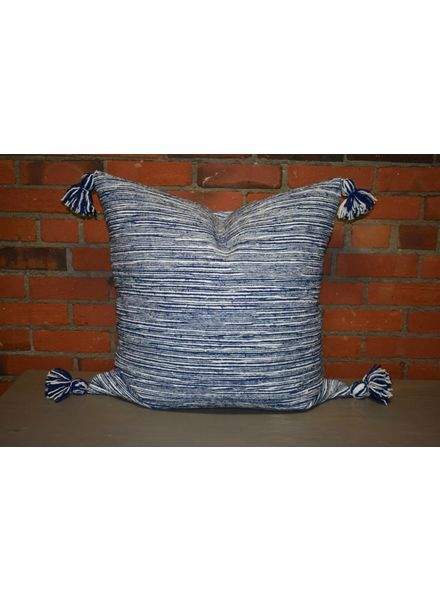 Moroccan Pillow-Euro (26 x 26) - Light Blue Candy Stripe