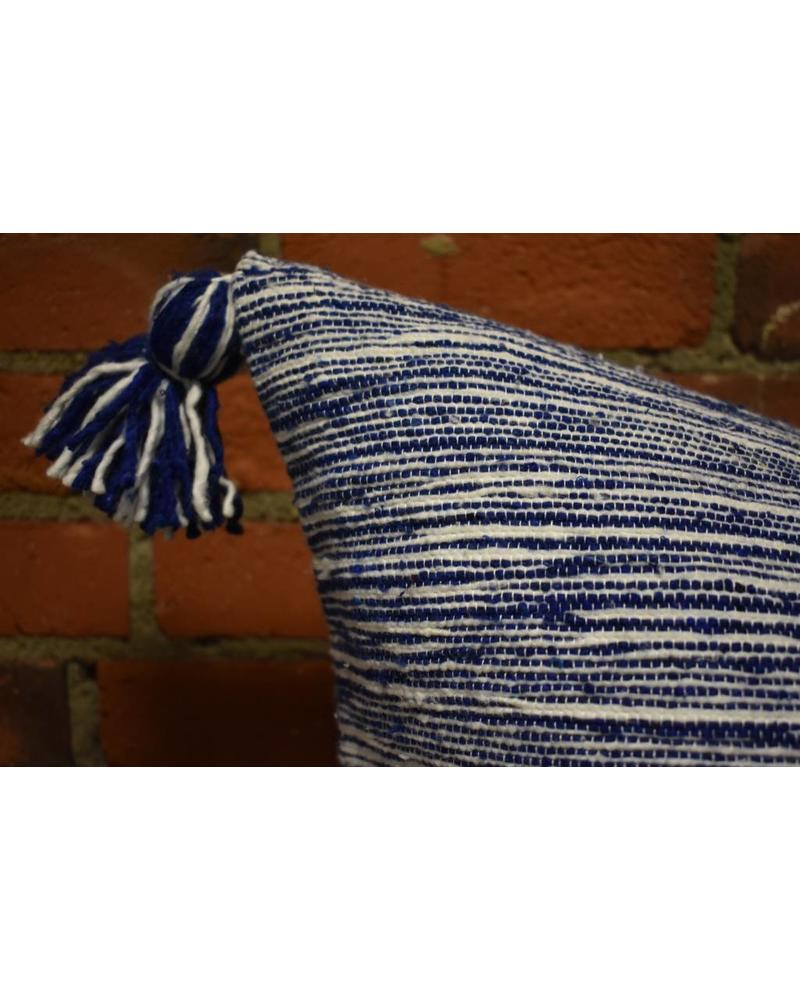 Moroccan Pillow-Euro (26 x 26) - Navy Candy Stripe