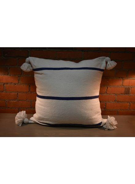 Moroccan Pillow-Euro (26 x 26) - White w/ Wide Blue Stripe