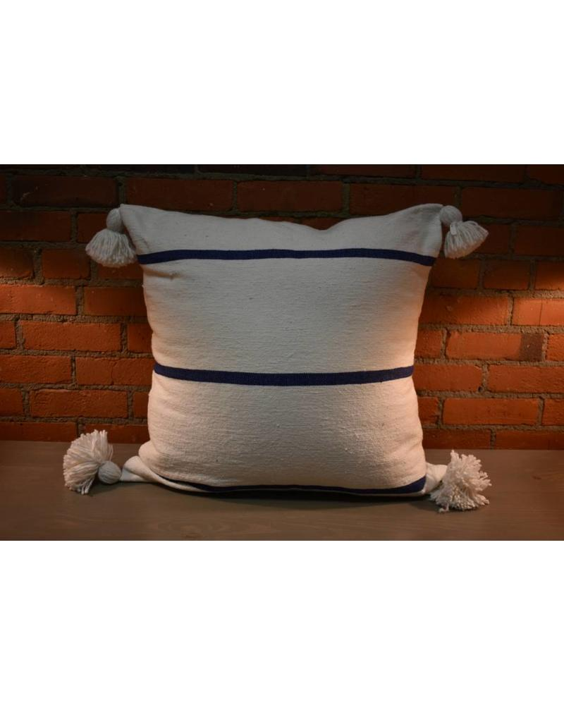 "Moroccan Pillow-Euro (26"" x 26"") - White w/ Wide Blue Stripe"