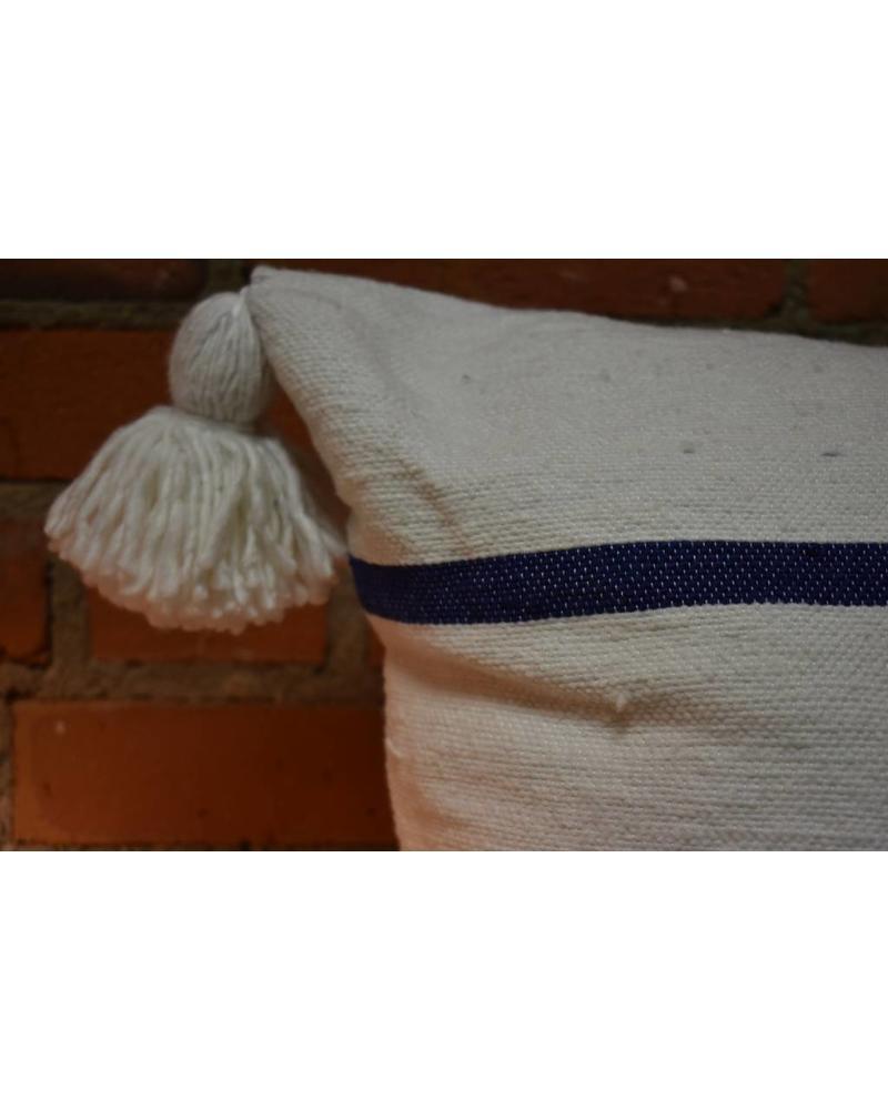 "Moroccan Pillow-Euro (26"" x 26"") - White w/ Wide Blue Stripe"