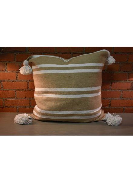Moroccan Pillow-Euro (26 x 26) - Khaki w/ Wide White Stripe