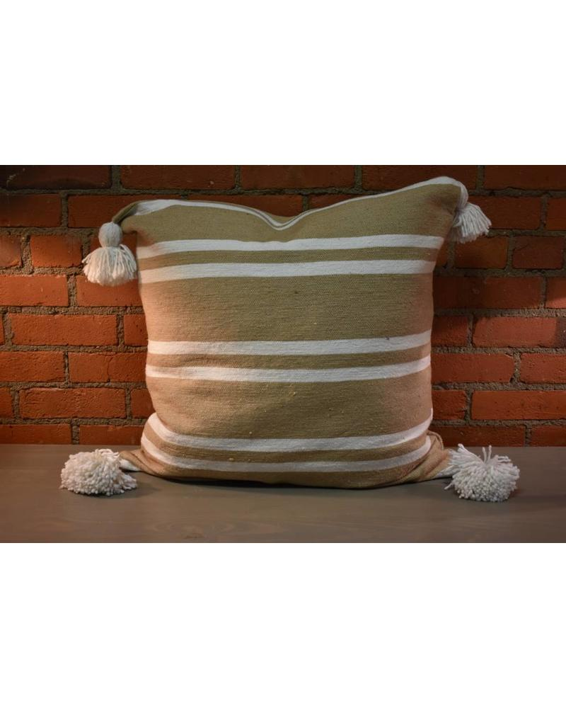 "Moroccan Pillow-Euro (26"" x 26"") - Khaki w/ Wide White Stripe"