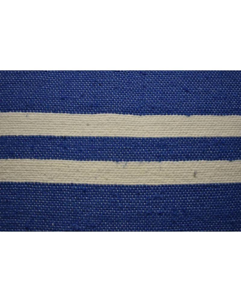 Moroccan Pillow-Euro (26 x 26) - Light Blue w/ Wide White Stripe