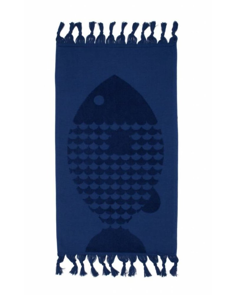 Fish Hand Towel (Indigo)