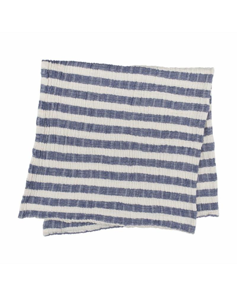Kids Stripy Muslin Blanket (Navy)