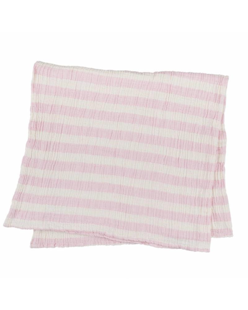 Kids Stripy Muslin Blanket (Pink)