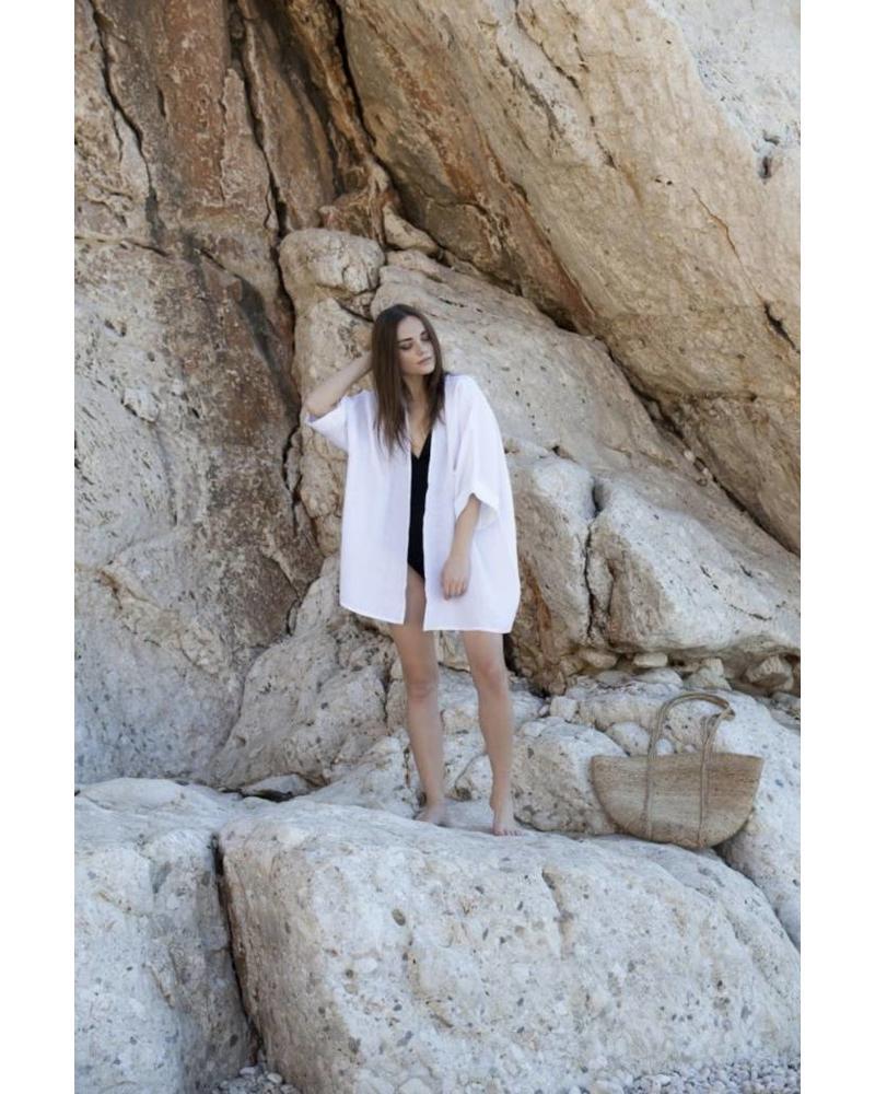 Linen Kimono, White (One Size)