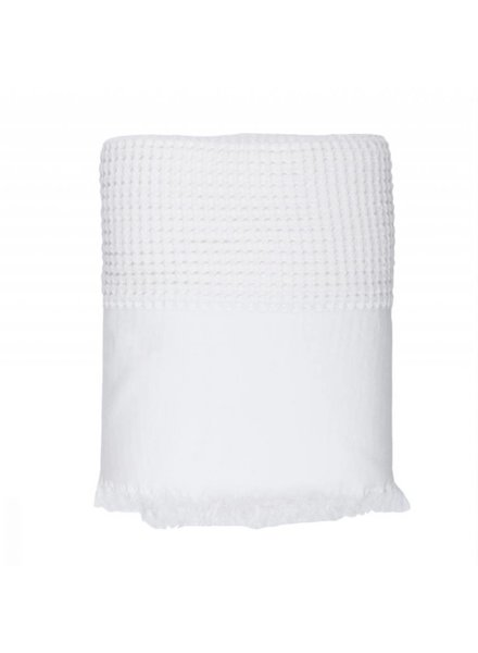 Waffle Bed Cover, Double (White)