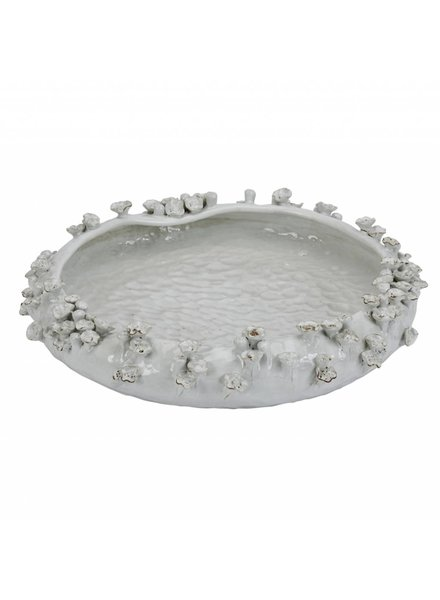 White Shallow Ceramic Bowl with Barnacles