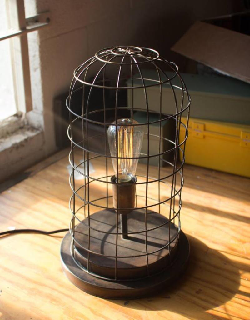 Aged Brass Finish Wire Cage Desk Lamp - JD\'s All About Home