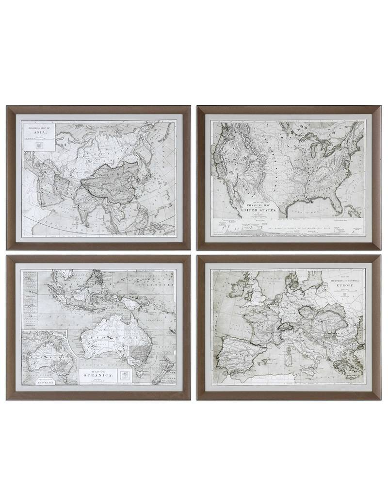 World Maps Framed Prints S/4 - JD\'s All About Home