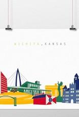 Cityscape Design Wichita Skyline Color Print 8 x 10