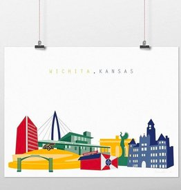 Cityscape Design Wichita Skyline Color Print 8 x 10