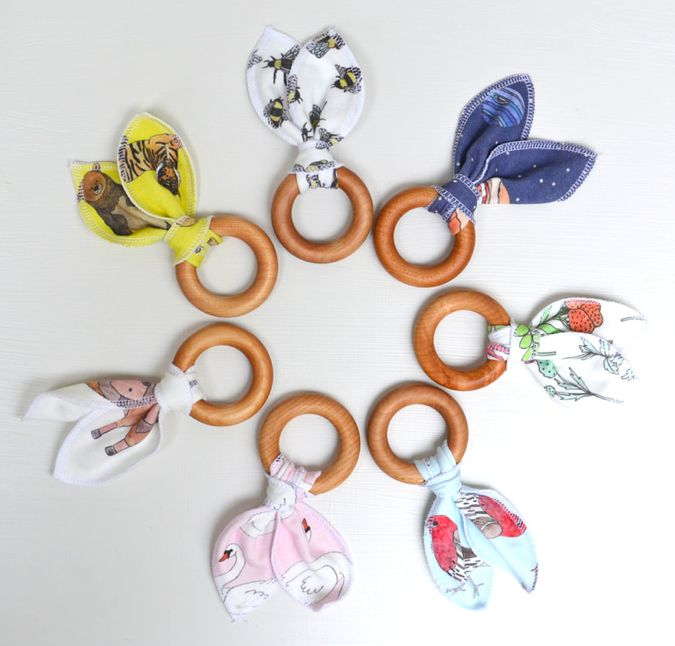 Lavender & Clover Illustrated Baby Teether Toy