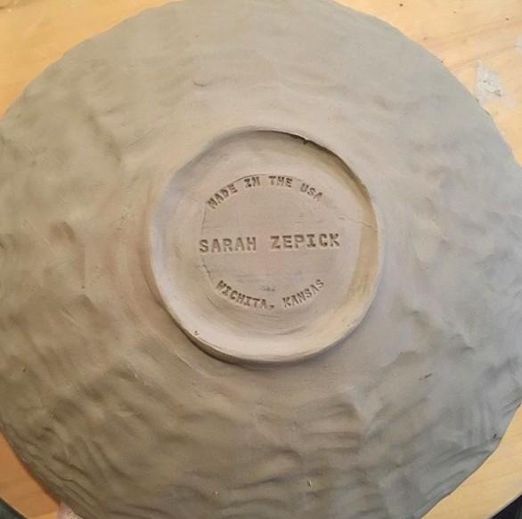 Sarah Zepick Pottery Gold Rimmed Salad Bowl