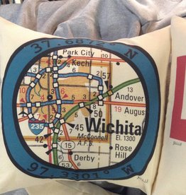 "Julio Designs Longitude/Latitude 16"" square pillow"