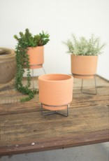 Kalalou Natural Clay Planter with Wire Bases