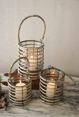 Kalalou Grey Willow Lantern with Glass/Small