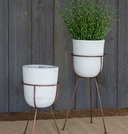 Kalalou White Clay Flower Bells on Base. Tall
