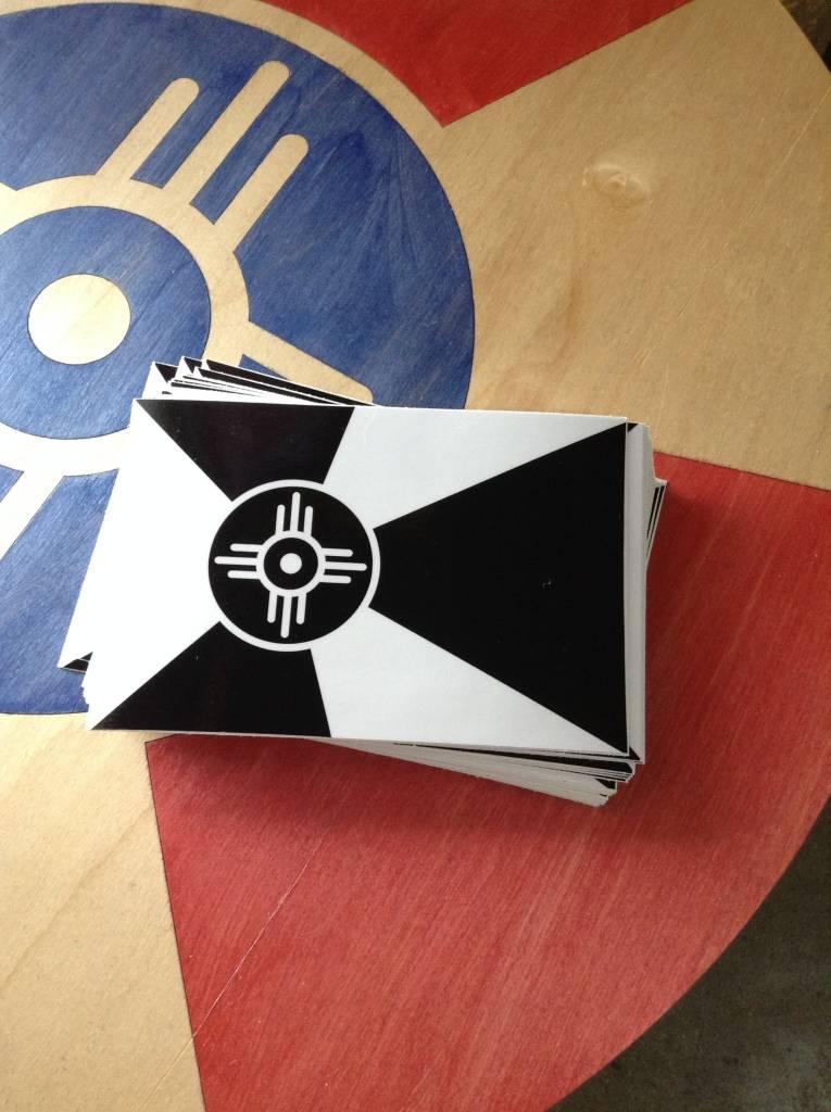 "The Workroom Wichita Flag Black & White Decal 3.5""x5.25"""