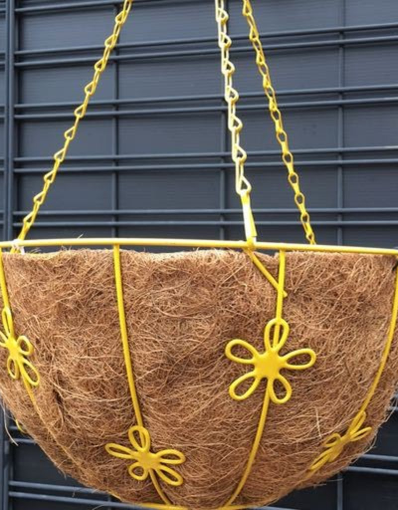Daisy Basket w/ Water Reservoir, Yel, 14 inch- 14 inch