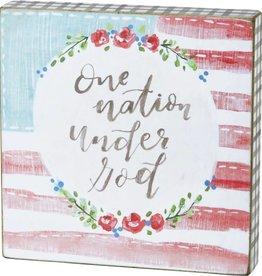 "One Nation Under God Block Sign, 6x6"""