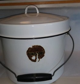 "White Enamelware Stock Pot w/Lid & Bail Handle, 11"" Diameter, 1930's"