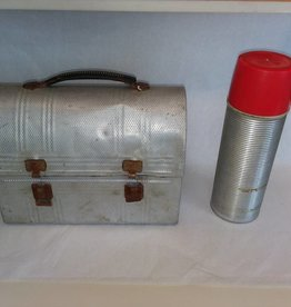 Retro Workman's Aluminum Lunch Pail w/Thermos Brand 1 Pint Aluminum Bottle, Black Handle, Rusty Closure Snaps