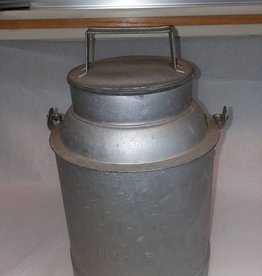 "NYCS Galvanized Tin Cream Can w/Lid, 12"", E.1900's"