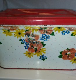 Flowered Bread Box, 14x10x9, c.1950