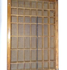 "Printer's Typesetting Tray, 49 Openings, Metal Runner, 11 1/4x16 5/8"", 1930's"