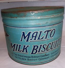 Malto Milk Bisquit Tin w/Lid, 8 1/2 Pounds, c.1930