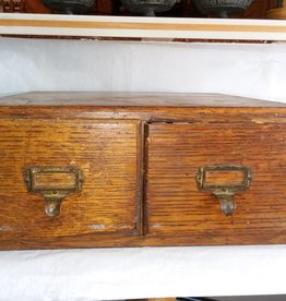 "Oak File Drawers, Original Brass Pulls, 15.5x15x6.5"", M.1900's"