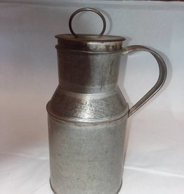 "Tin Cream Can w/Lid & Strap Side Handle, 8"", c.1890"