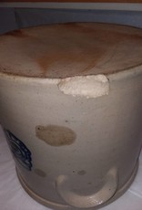 Ithaca NY Crock Cobalt Blue Flowers, L.1800's, 3 Gallon, Small Chip & Age Cracks (As Is)