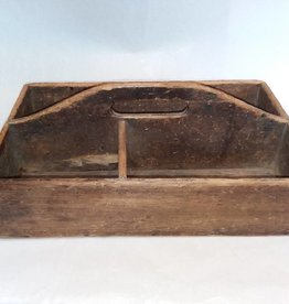 """Wooden Tool Tote, Dovetail Corners, L.1800's, 16x10x4"""""""