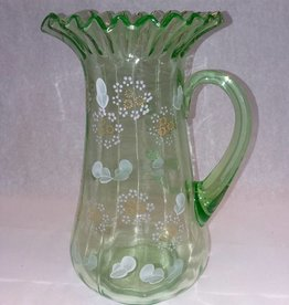 "Green Depression Glass Pitcher, 10.5"" Tall, E.1900's"