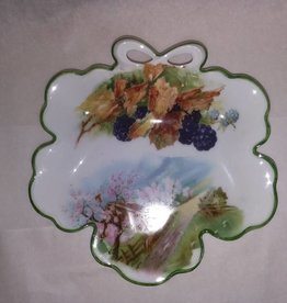 "Hand Painted Porcelain Bavarian Nut Dish, 7.25"", E.1900's"