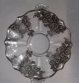 "13"" Desserts Plate w/Applied Silver, Floral Design, E.1900's,"